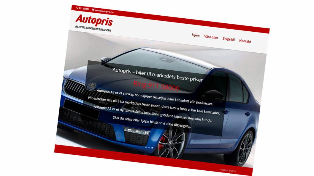 NETTSIDE: Sven Jarle Knoll selger bruktbiler fra denne nettsiden og fra Finn. Foto: Faksimile fra Autopris.no
