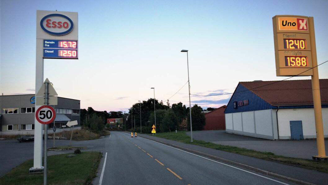 STORT GAP: Alle kjedene har uvanlig store forskjeller i pris på bensin og diesel nå i sommer. Foto: Geir Røed