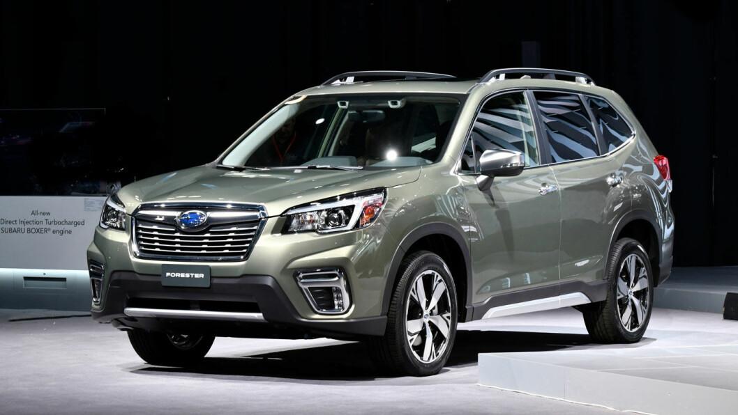 SIKRERE: Subaru viser 2019-modellen av sin Forester under bilutstillingen i New York i påsken. Foto: Subaru