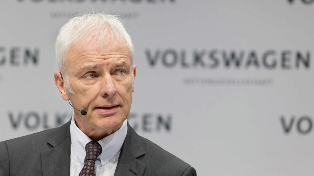 OVER OG UT? Flere medier varsler at Volkswagen-sjef Matthias Müller er på vei ut av sjefstolen hos verdens største bilprodusent. Foto: Volkswagen Media