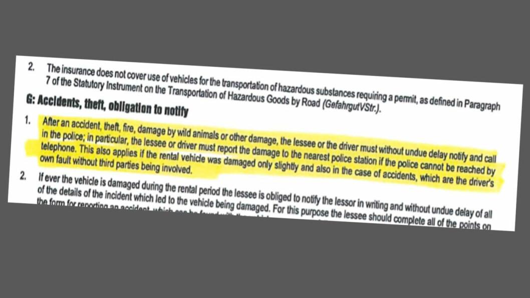 UVANLIG VILKÅR: På side fire i de generelle vilkårene opplyser Sixt om at politiet skal varsles umiddelbart, selv ved mindre materielle skader. Faksimile av generelle vilkår fra Sixt.