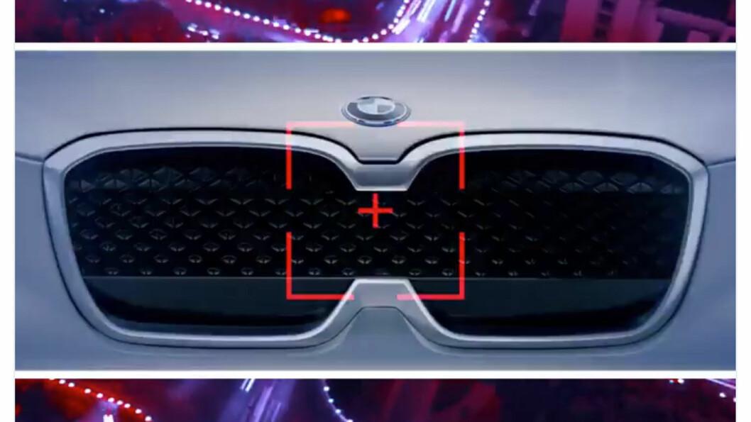 SNIKTITT: Så mye, men ikke mer, har BMW vist fram av konseptbilen iX3. På Beijing-utstillingen kommer doningen i helfigur.