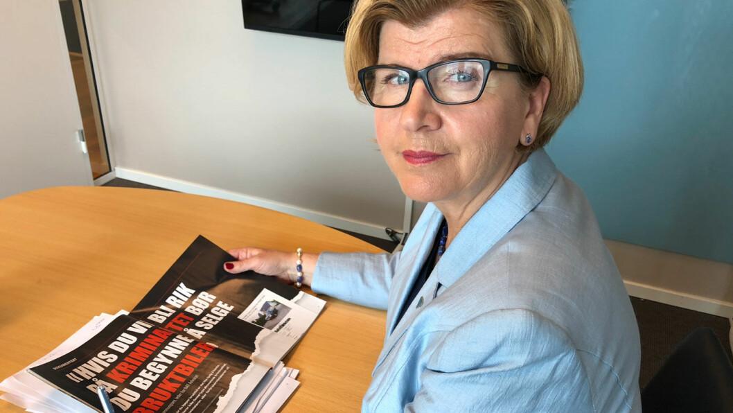 SJOKKERT: Forbrukerrådets direktør Randi Flesland er sjokkert over hvordan noen bruktbilselgere oppfører seg Foto: Geir Røed