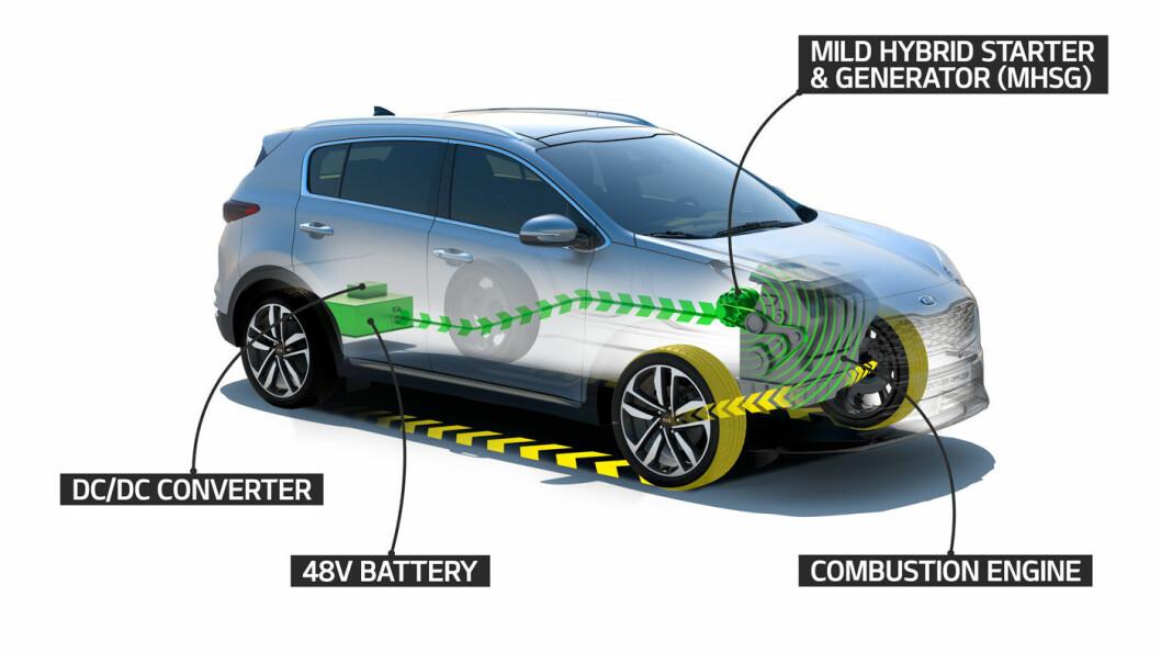 FULL PAKKE: Med ny mild hybrid blir Kia første selskap som tilbyr kundene hybrid, plug-in hybrid, elektrisk, og 48-volt teknologi i sin modellportefølje Foto: Kia