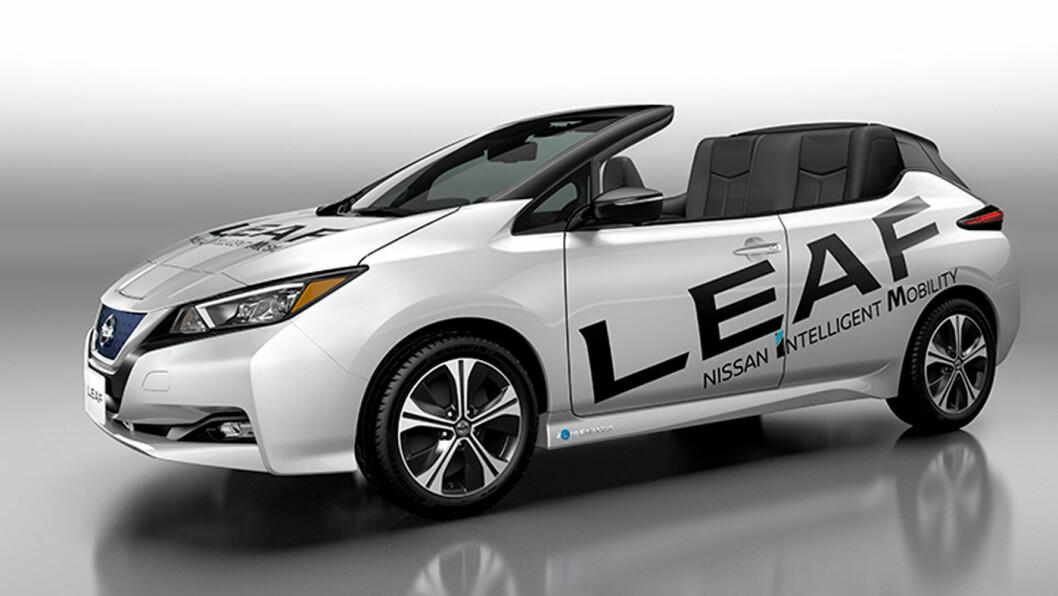 BARE EN FLEIP? Nissan Leaf Open Car ble vist fram på en utstilling i Tokyo før helgen. Forhåpentligvis får vi aldri se den igjen.