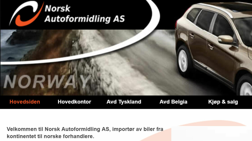 IMPORTERER: Blant de største på import av elbiler er Norsk Autoformidling. Faksimile: Nettsiden til Norsk Autoformidling