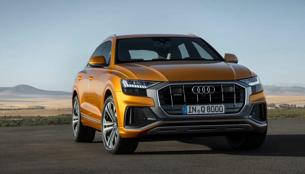 SUV-FLAGGSKIPET: Audi Q8 (bildet),er i dag toppmodellen i Audis SUV-sortiment. Etterfølgeren blir elektrisk - og blir etterfølgeren til suksessen e-tron.