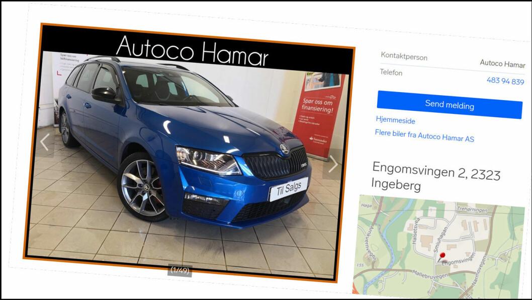 ANNONSER: Finn.no er en viktig annonsekanal for mange bilselgere, også Autoco Hamar. Faksimile av annonse