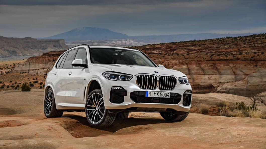 EVOLUSJON: Det er ikke så lett å se endringene på X5, men bilen er blitt større i alle retninger og den har fått blant annet nytt lyktedesign. Foto: BMW