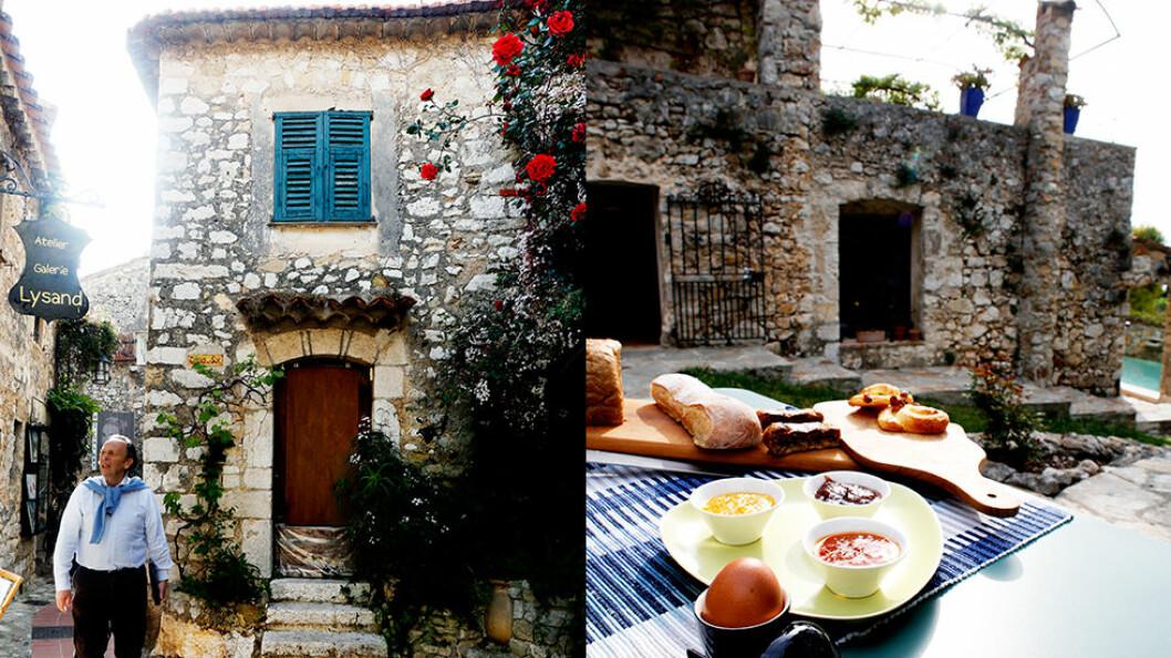 ROLIGE DAGER: Frokost på terrassen på hotell La Parare (t.h.). I middelalderlandsbyen Eze ligger flere gallerier (t.v.).