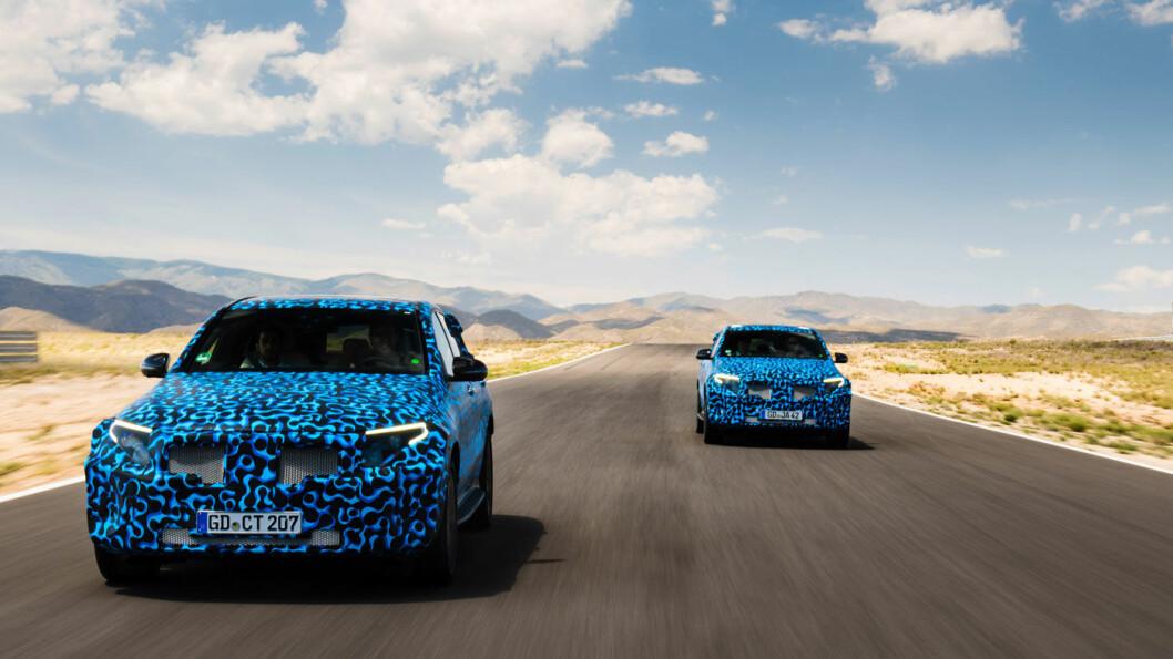 HEMMELIG: Mercedes tester for tiden en prototype av en stor sedan med elmotor. Den vil trolig være på veiene i 2021. Deres første rene elbil, EQC (bildet), er nå produksjonsklar.