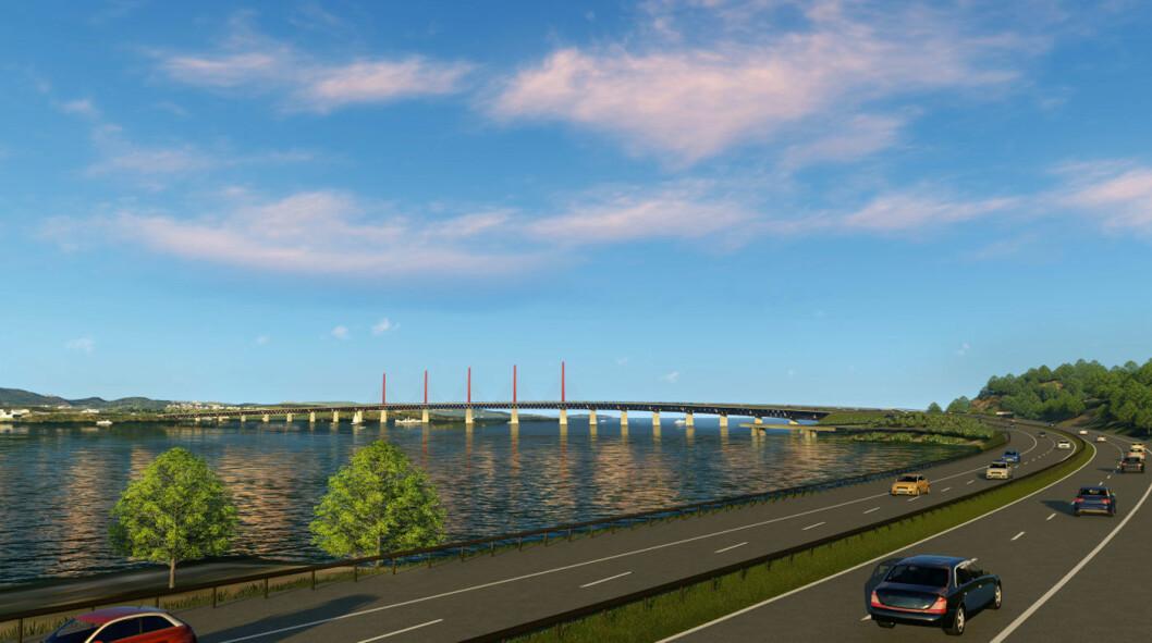 MJØSBRU I TRE: Slik kan en ny Mjøsbru bli seende ut – med utenlandsk treverk. Foto: Tegning laget for Statens vegvesen