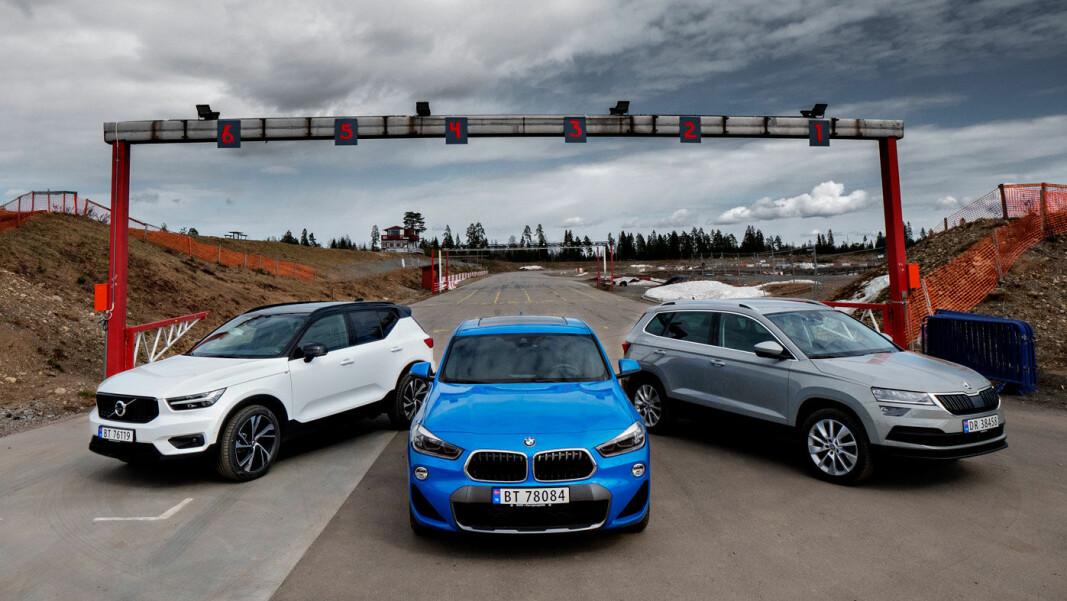 TRE PÅ TOPP: Volvo XC40, BMW X2 og Skoda Karoq har vært testet av Motor og NAFs eksperter.