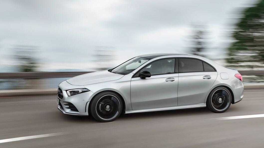 I VINDEN: Nye Mercedes A-klasse sedan har rekordlav luftmotstand. Med en verdi på 0,22 sletter Mercedes sin egen rekord.