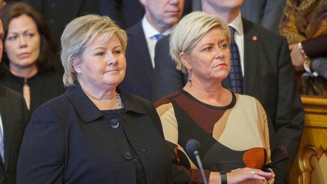 FORBEREDER BUDSJETT: Bilavgiftene stiger i det stille, lenge før finansminister Siv Jensen (t.h.) legger fram Solberg-regjeringens neste statsbudsjett. Foto: Stortinget