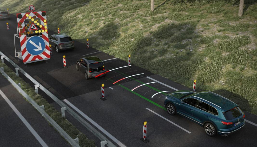 USTABILT: Førerstøttesystemene til VW fungerer ofte ypperlig, men ikke adaptiv fartsholder sammen med skiltleser.
