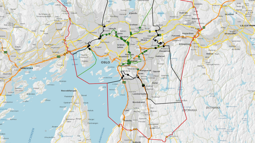 TRE RINGER: Slik blir plasseringen av de totalt 84 bomstasjonene i Oslo.Den røde er ved kommunegrensen, den svarte er dagens ring, og den grønne er den nye indre ring.