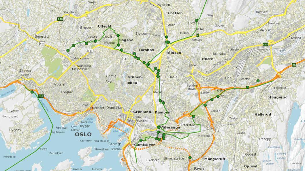 PLASSERING: Her blir bomstasjonene i indre bomring. Foto: Kart fra Statens vegvesen