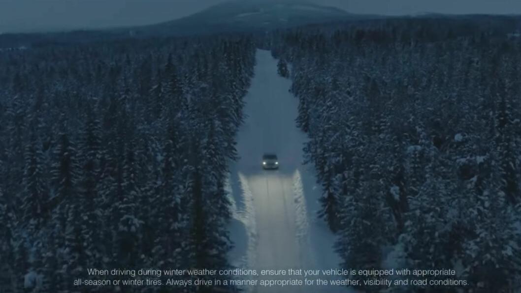 NOK ET DRYPP: En video på omlag et minutt med klipp hvor du nesten ser nye Audi e-tron er siste stopp på promoteringskampanjen før bilen lanseres tirsdag. Foto: Skjermdump fra filmen
