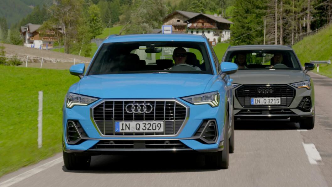 VISER MUSKLER: Nye Audi Q3 har fått den nye signaturen til Audi, den åttekantete grillen, og i tillegg litt muskuløse elementer for å underbygge SUV-preget.