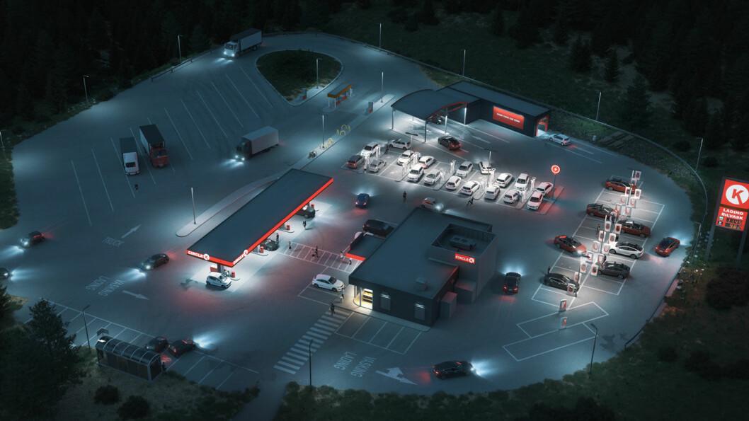 BENSINLADESTASJON: Om noen uker vil Circle K på Kjerlingland utenfor Lillesand ha en kombinasjon av 26 hurtigladere for ulike typer elbiler, åtte fyllepunkter for personbiler og to fyllepunkter for lastebiler. På lengre sikt skal antallet hurtigladere øke til 50.