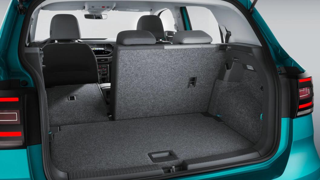 STOR PLASS: T-Cross har bagasjekapasitet som overgår mange langt større biler.
