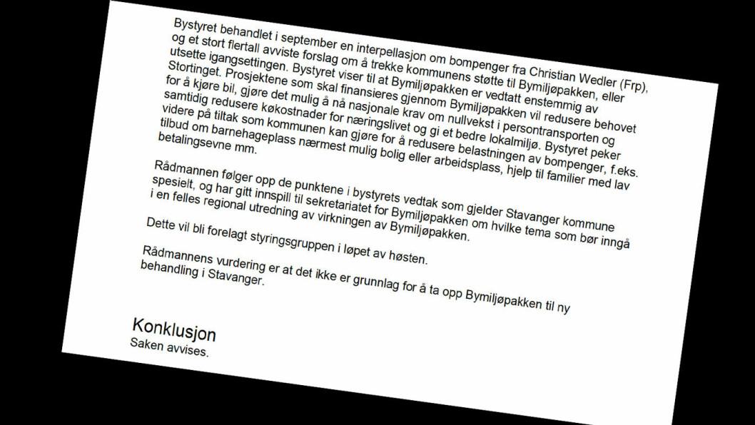 DAGSORDEN: Krav om nye behandling av Bymiljøpakken stod på dagsorden i Stavanger bystyre mandag kveld –med innstilling fra rådmannen om å avvise kravet. Foto: Faksimile av saksdokument