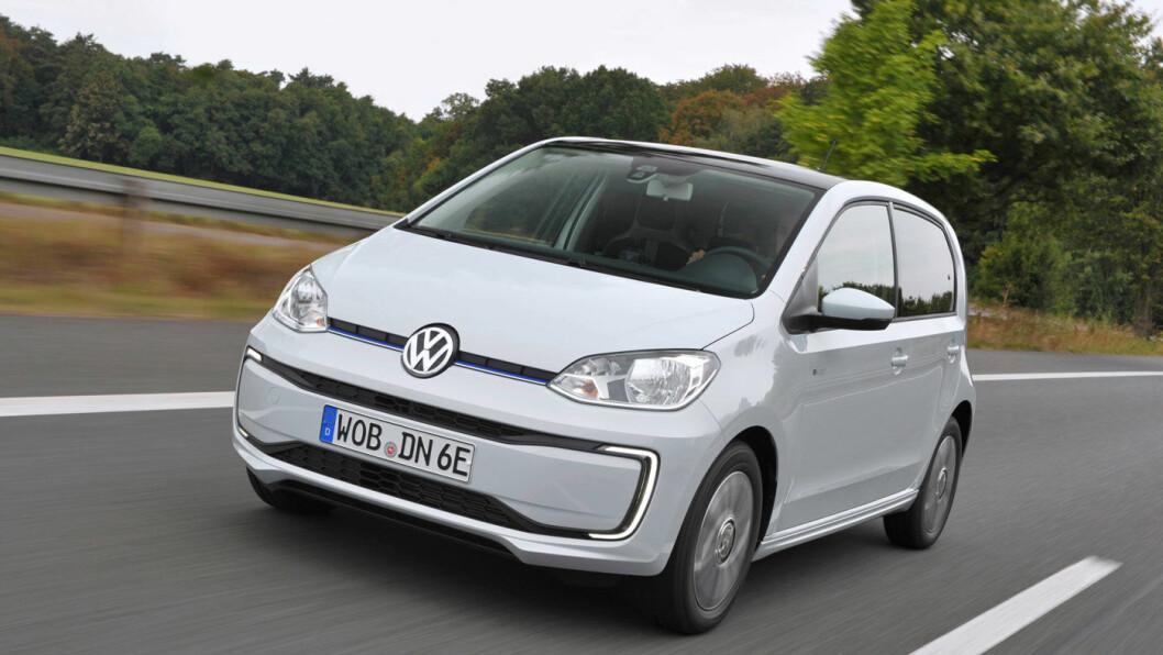 TRE AV FEM: Uten automatisk nødbremssystem får VW e-Up! (bildet) og konsernsøskenene Skoda Citigo-e og Seat Mii Electric bare tre av fem stjerner i årets siste Euro NCAP-test.