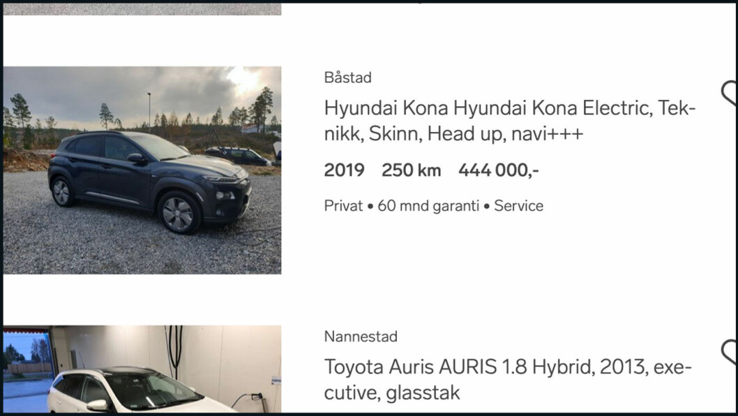 LANGT OVER LISTEPRIS: Akkurat nå ligger det to annonser for helt nye Hyundai Kona Electric på Finn.no.