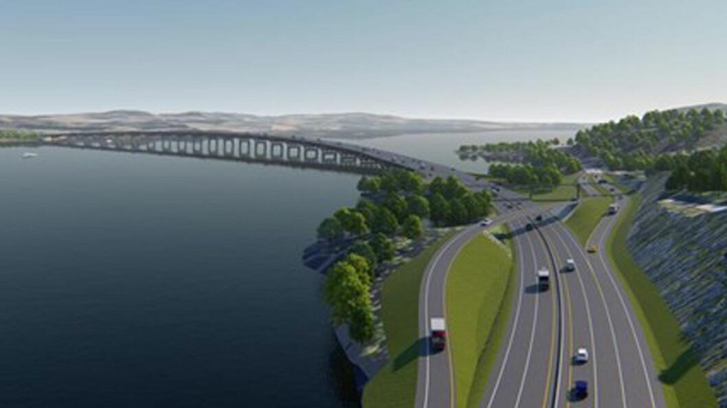 OVER MJØSA: Den nye Mjøsbrua i tre blir et landemerke på den nye firefeltsveien nordover fra Hamar. Foto: Illustrasjon fra nyeveier.no