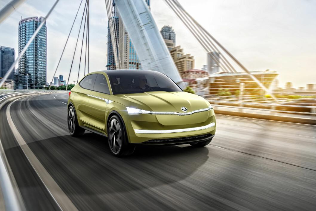 FAMILIEBIL: Skodas første elektriske bil får plass til en barnefamilie når den kommer i 2020. Foto: Produsenten
