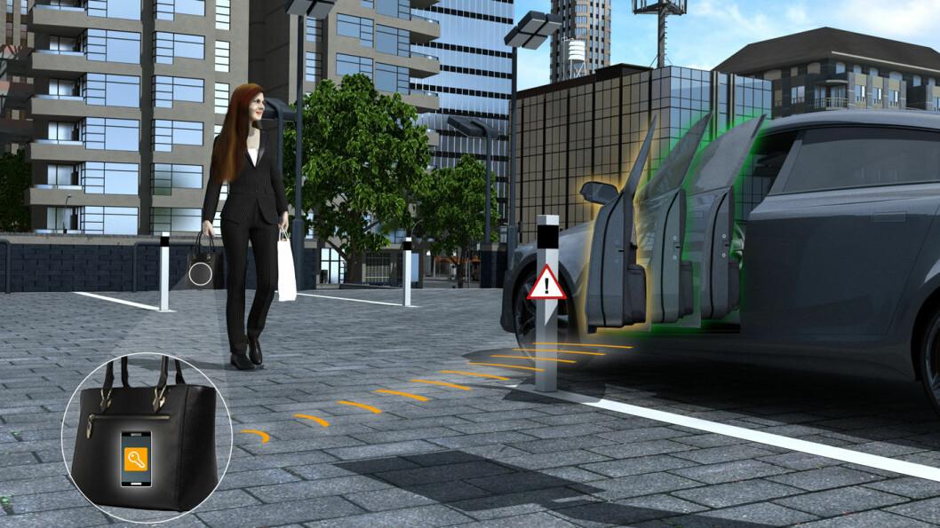 DØRÅPNER: Dekkprodusenten Continental jobber også med teknologi, og lanserer rett over nyttår et dørsystem som skal hindre parkeringsskrammer og gjøre inn- og utstigningen i bilen enklere. Foto: Illustrasjon fra Continental