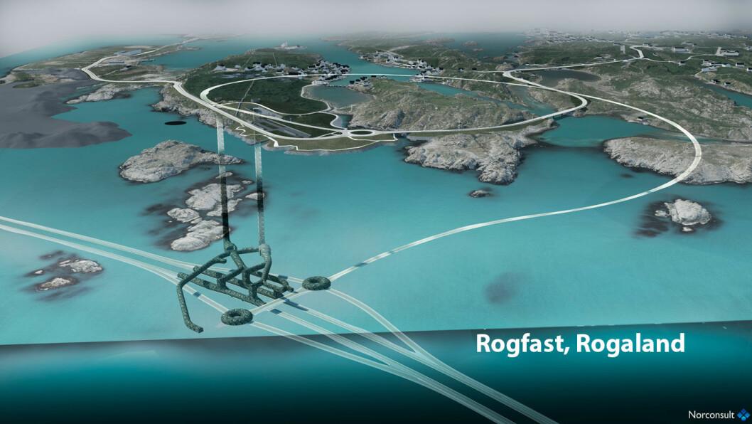 KRYSS I HAVET: Denne trafikkmaskinen skal –kanskje –bygges 200 meter under havoverflaten, nordvest for Stavanger. Prosjektet kan bli langt dyrere enn beregnet. Foto: Statens vegvesen