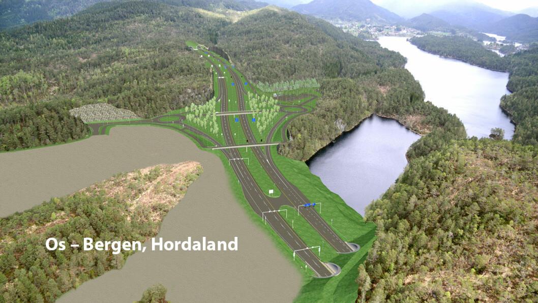 KREVENDE: På E39 mellom Svegatjørn i Os kommune og Rådal i Bergen bygges det 16 kilometer med ny firefeltsvei.