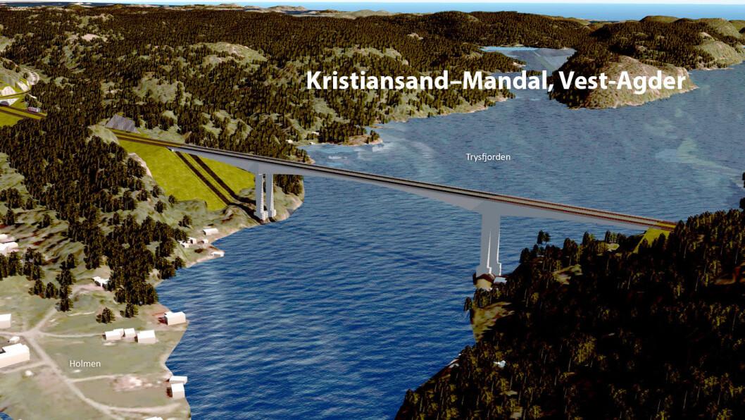KRISTIANSAND – MANDAL: Det bygges blant annet bru over Trysfjorden i Søgne. Brua får en seilingshøyde på 60 meter. Illustrasjon: Sweco og Nye Veier
