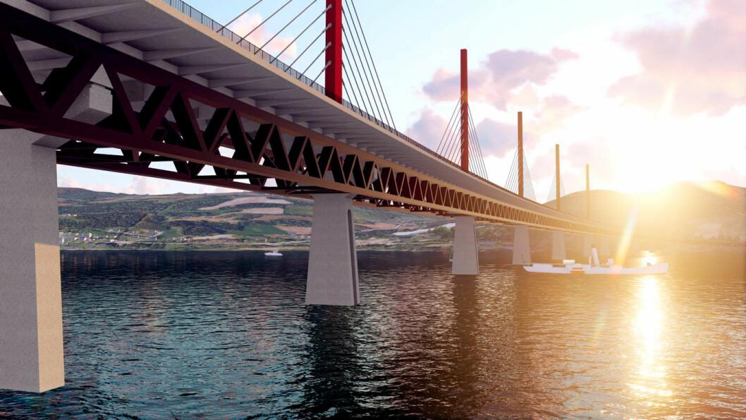ET NYTT IKON: Mot slutten av 2019 blir det trolig klart om den nye Mjøsbrua i Oppland blir bygget i tre.