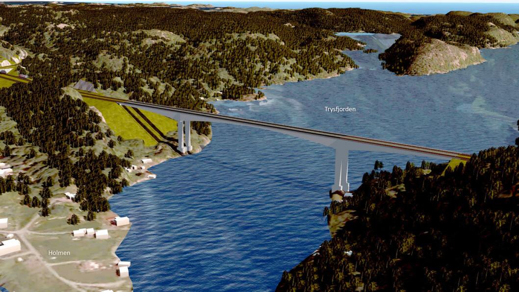 NY BRU: Brua over Trysfjorden i Søgne i Vest-Agder får en seilingshøyde på 60 meter, nesten dobbelt så høyt som Varoddbrua øst for Kristiansand. Foto: Illustrasjon: Sweco/Nye Veier
