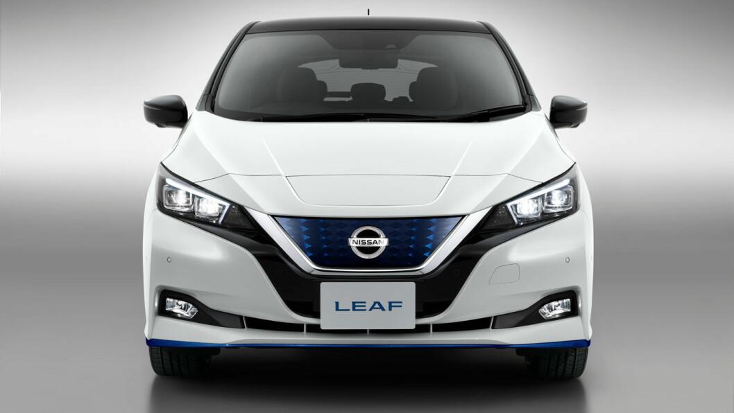PRIKK LIK: Det er ingen utvendige endringer på oppgraderte Leaf, med mindre du er så spesielt interessert at du ser noen nye lakkfarger. Foto: Nissan