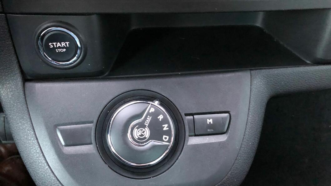 GIRSPAKEN: Du vrir på dette hjulet når du skal skifte gir. Ikke så intuitivt etter vår mening.