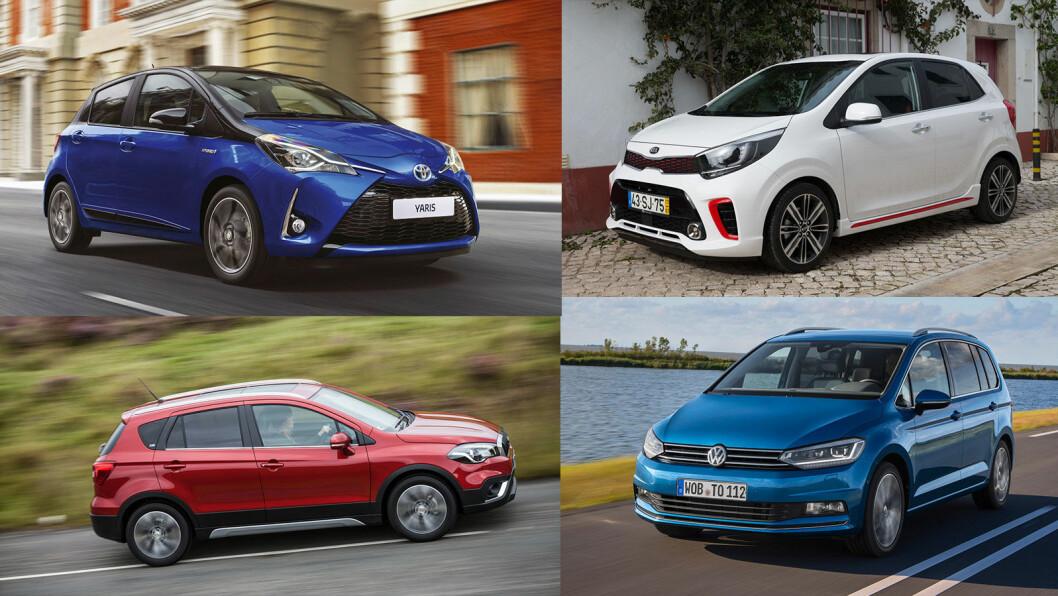 AVGIFTSHOPP: Fire av bilene som har fått høye avgiftsøkninger med ny testmetode –Toyota Yaris, Kia Picanto, VW Touran og Suzuki S-Cross (med klokka fra oppe til venstre).
