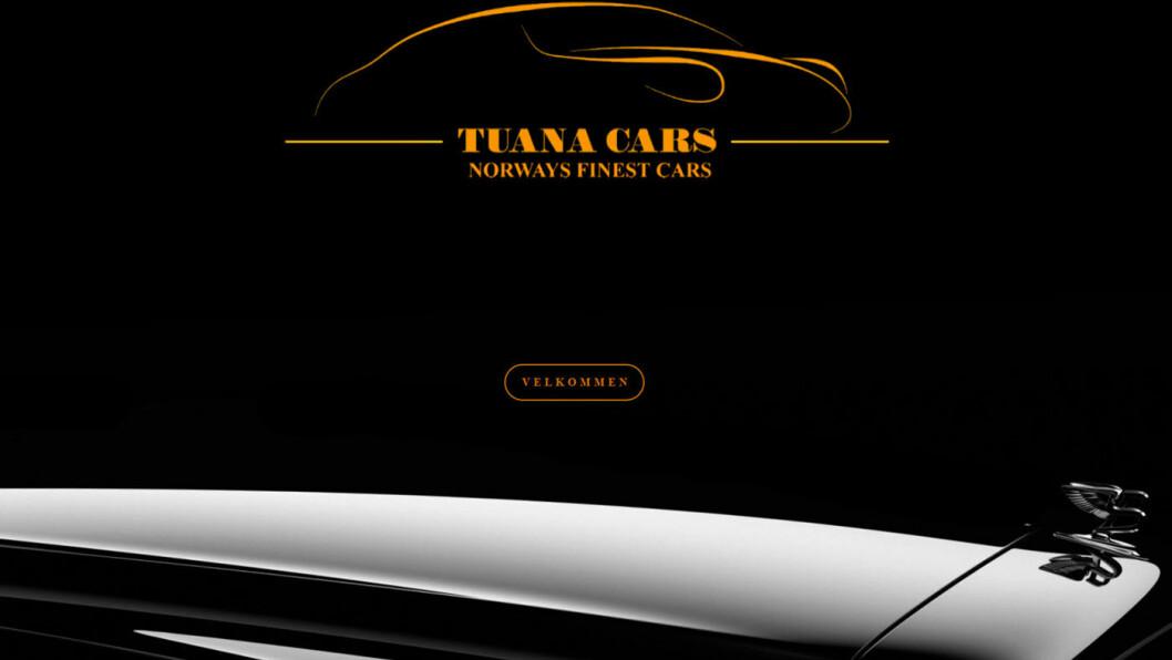 NORGES FINESTE: De hevdet de solgte flotte biler - men kundene fikk ikke pengene sine. Foto: Faksimile av nettsiden til Tuana Cars