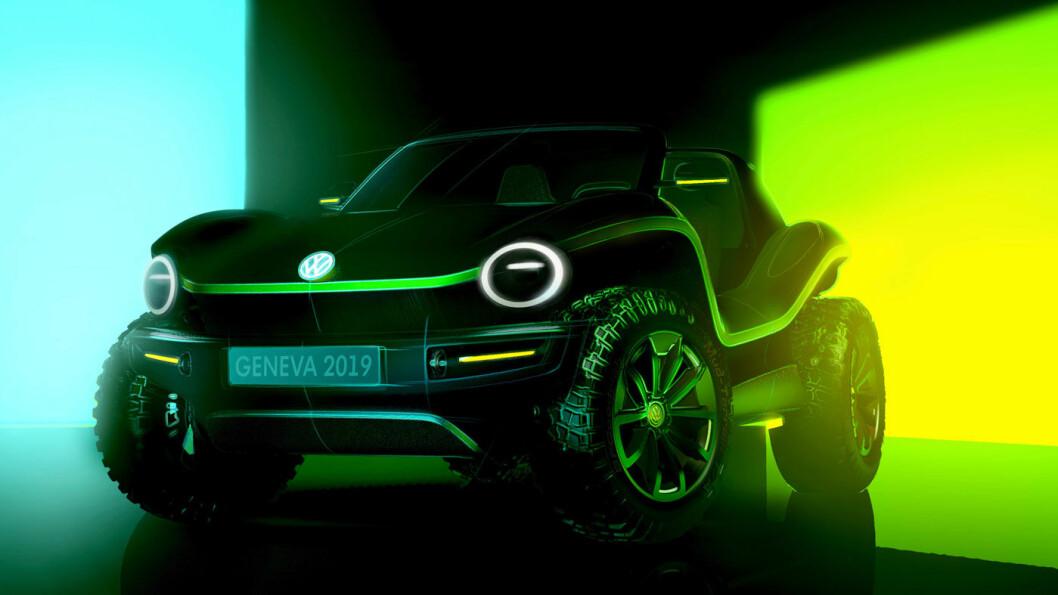 IKON PÅ STRØM: Slik ser nye helelektriske Beach Buggy ut. Tiden vil vise om det blir en ny æra for denne solskinnsbilen. Foto: Volkswagen AG