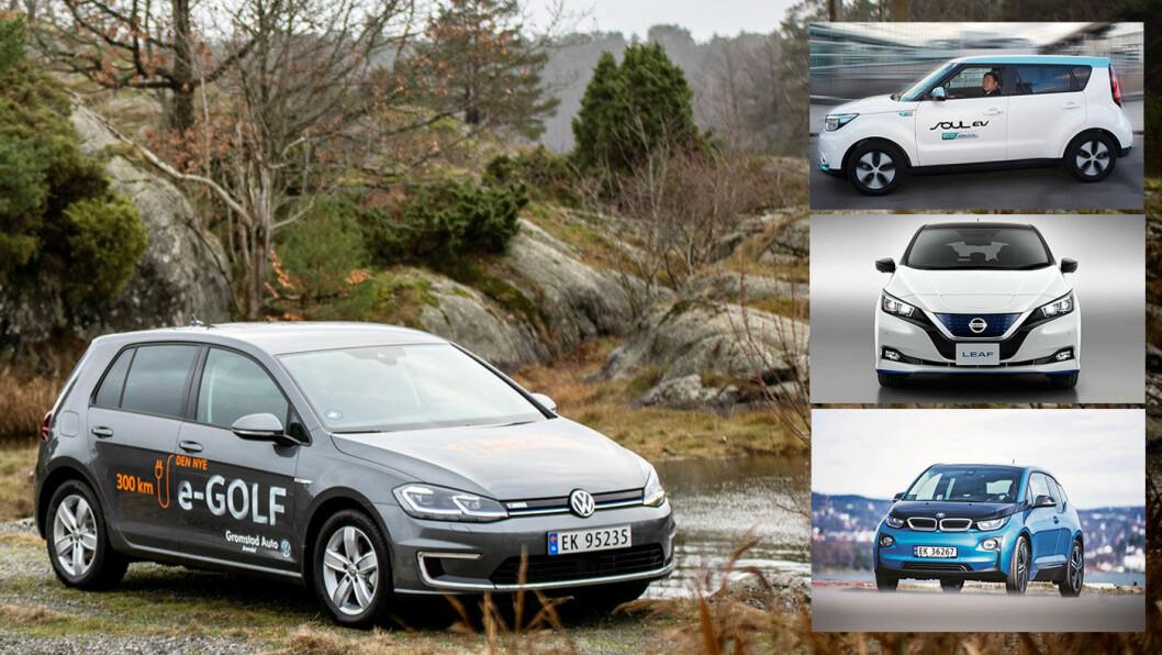 BESTSELGERE: Elbiler som VW e-Golf (det store bildet) og konkurrentene Kia Soul (øverst til høyre), Nissan Leaf og BMW i3 har alle steget i pris. Skyldes det bare større batterier? Foto: Tomm W. Christiansen (VW e-Golf)