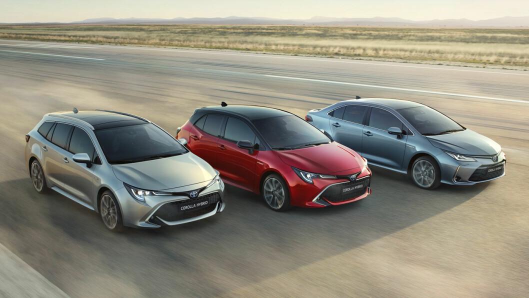 NORGESKLAR: Nye Corolla er blitt langt mer sporty og elegant. Borte er det trauste preget vi forbinder med modellnavnet. Her er modellen i tre karosserivarianter: Stasjonsvogn, 5-dørs kombi og sedan.