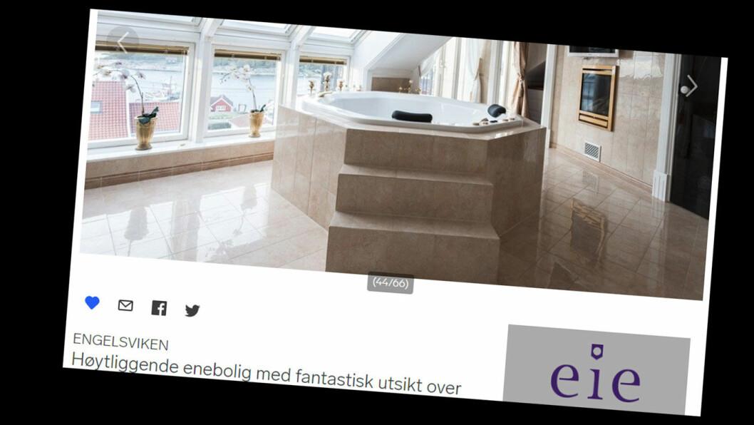 TVANGSSALG: Bruktbilselgeren som er for retten i Fredrikstad sier han er god for 20 millioner, men en luksuriøs enebolig han eier går nå på tvangssalg på grunn av ubetalte skattekrav. Foto: Faksimile finn.no