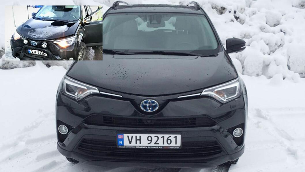 FØR OG ETTER: Her er bilen rett etter ulykken (det lille bildet, opp til venstre) –og idag.