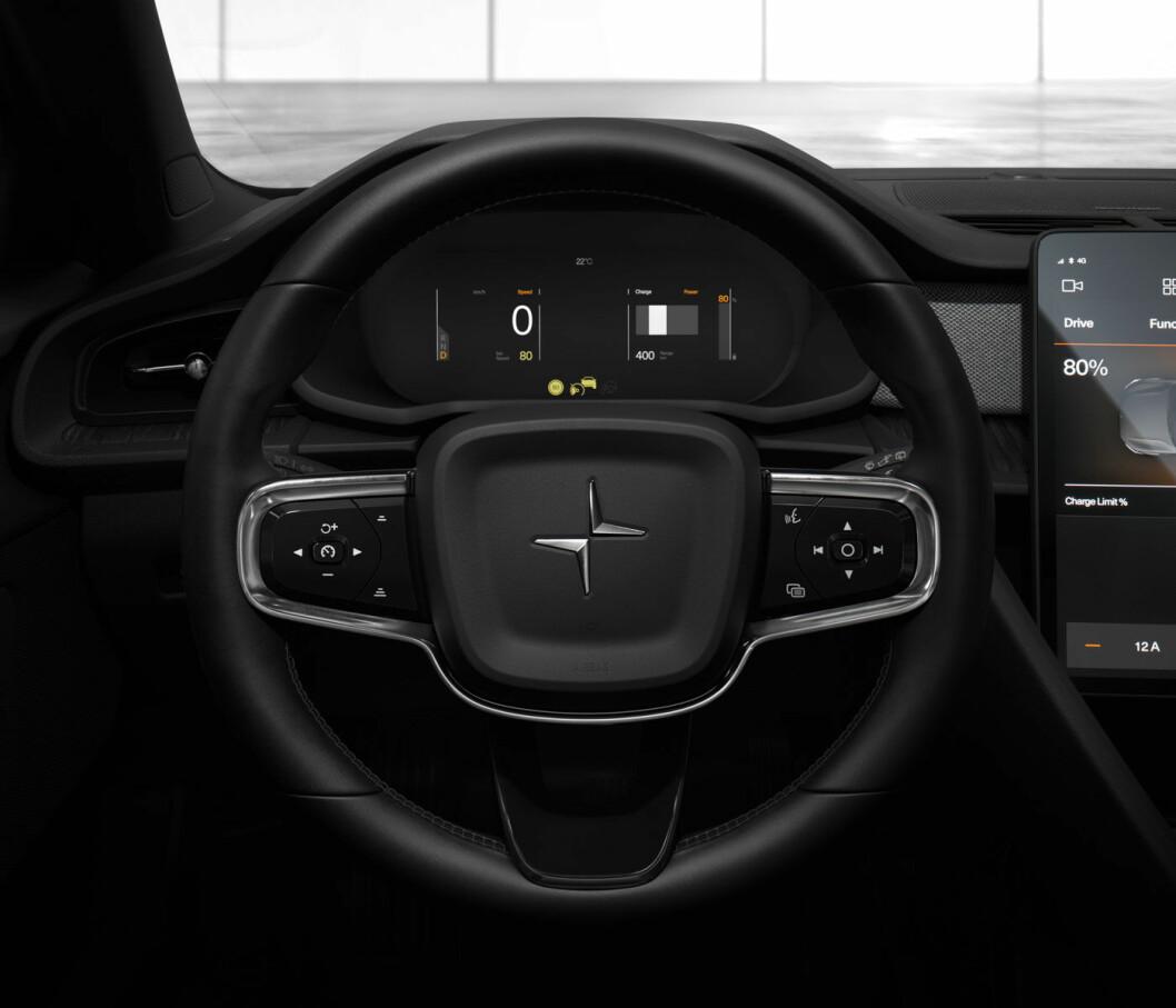 NÆRMER SEG: Polestar 2 er endelig en synlig størrelse, her er et bilde av førermiljøet. Neste elektriske bil ut – Polestar 3 – blir en SUV, trolig i Tesla Y-størrelse.