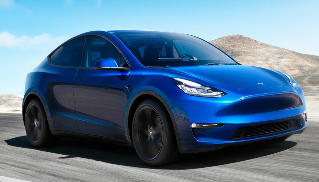 "<span class=""font-weight-bold"" data-lab-font_weight_desktop=""font-weight-bold"">DEN NESTE:</span> Tesla Model Y under testkjøring."