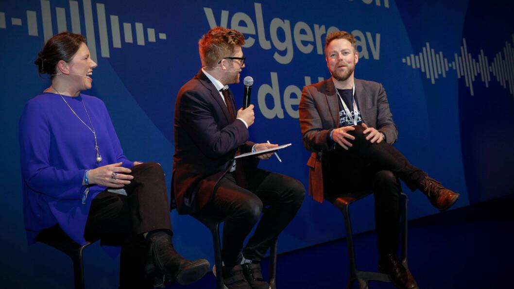 IKKE STØTTE: Miljøpolitisk talsperson Stefan Heggelund (midten) fikk ikke støtte nok fra Høyre-kolleger som Heidi Nordby Lunde og Torblørn Røe Isaken, da landsmøtet behandlet forslaget om forbud salg av bensin- og dieselbiler fra 2025. Foto: Hans Kristian Thorbjørnsen