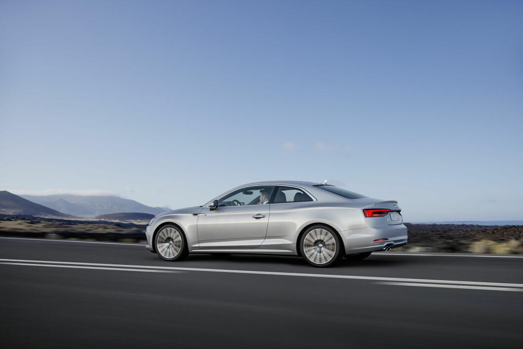Elegant og sportslig: Nye Audi A5 er enda et hakk mer sportslig enn dagens modell. Til høsten er den på plass i Norge. Foto: Audi